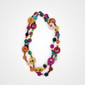 Coloured necklace long (big discs)
